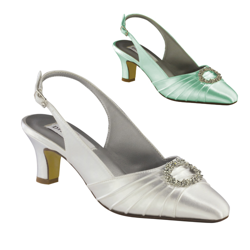 "ANN WHITE SATIN 2"" HEEL"