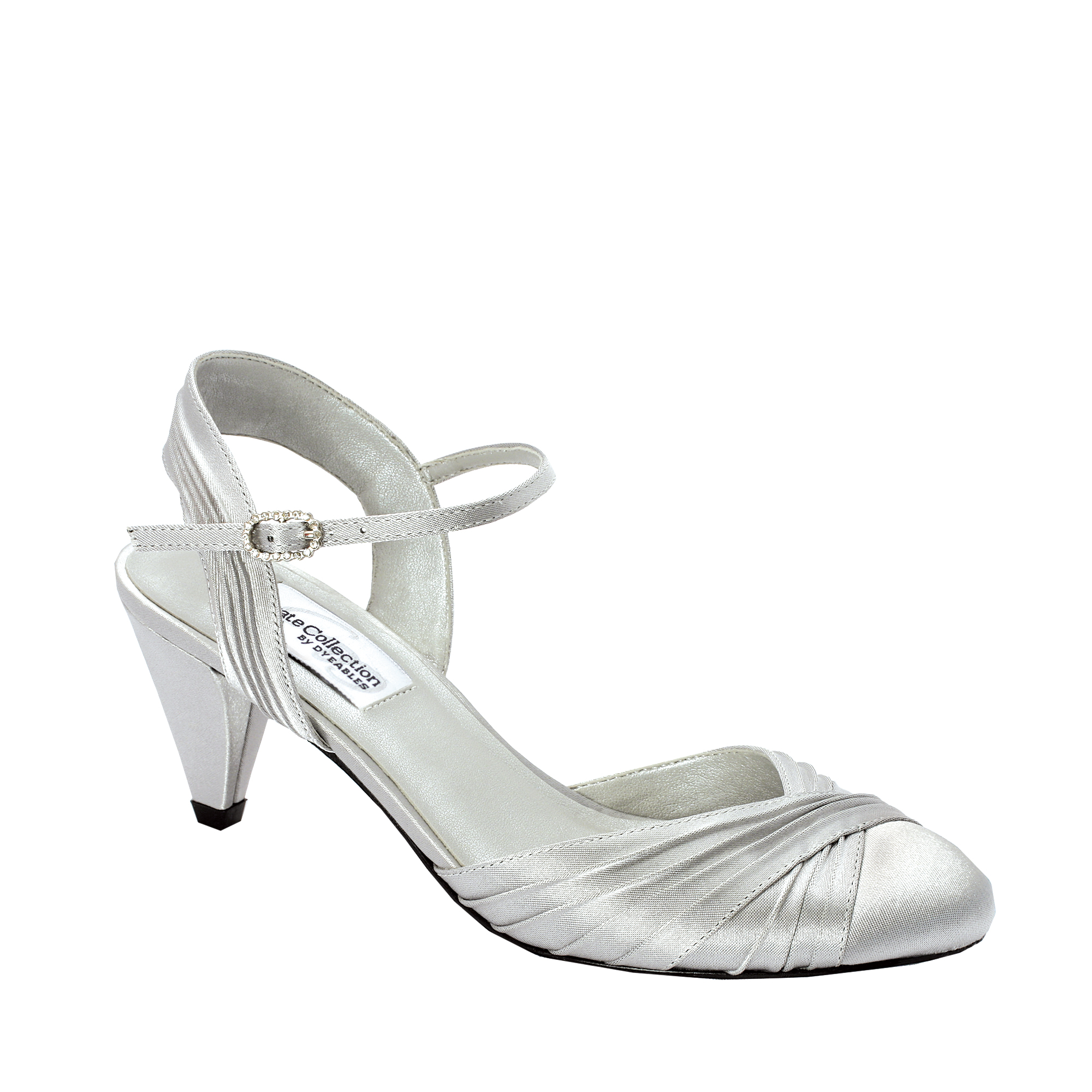 """dyeables alexis silver satin 2 1/4""""heel - dyeable shoe store"""
