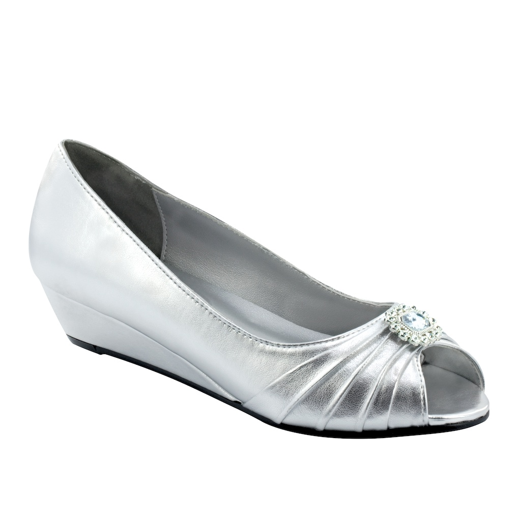 """Bridal Shoes Wide Feet: DYEABLES ANETTE COLORS 1"""" HEEL"""