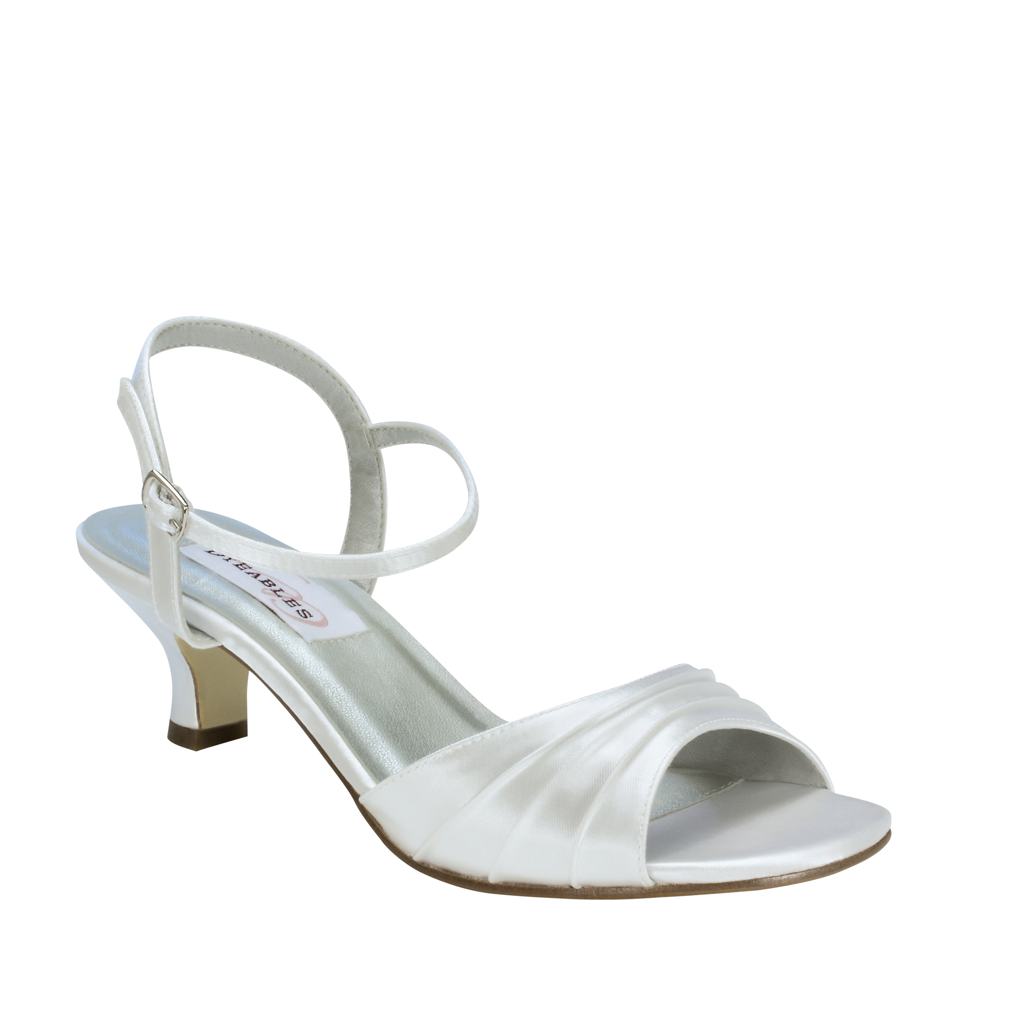 "DYEABLES BRIELLE WHITE SATIN 1 3 4"" HEEL Dyeable Shoe Store"