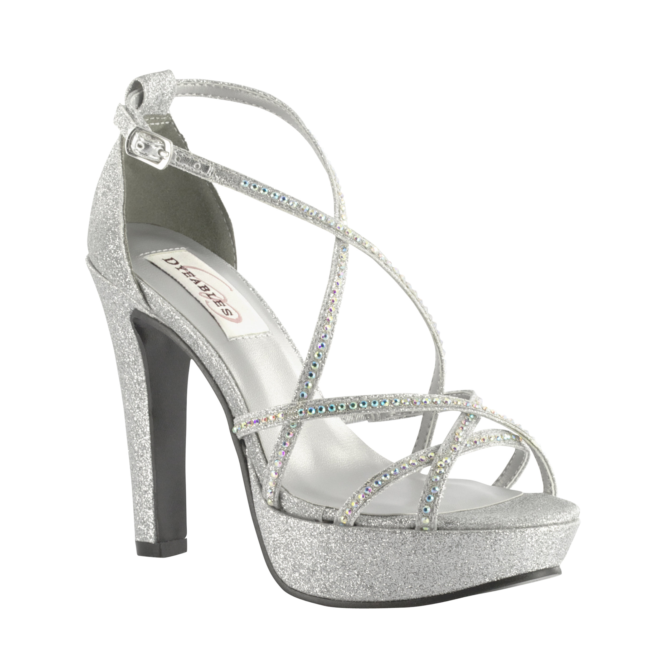 Dyeables Taylor Silver Glitter High Heel Evening Platform Shoes