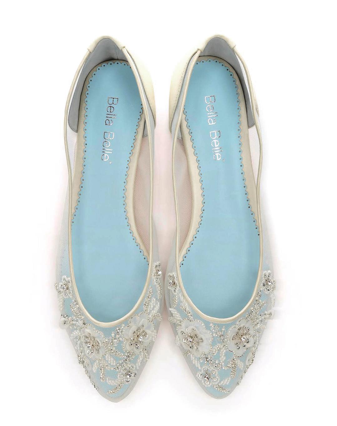 e80f2cbf0 BELLA BELLE ADORA IVORY SILK FLAT - Dyeable Shoe Store
