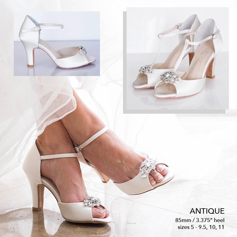 d8ff8315eb ANGELA NURAN ANTIQUE WHITE SILK 3 1/4″ BLOCK HEEL. Home / Shoes / Dyeable  Shoes