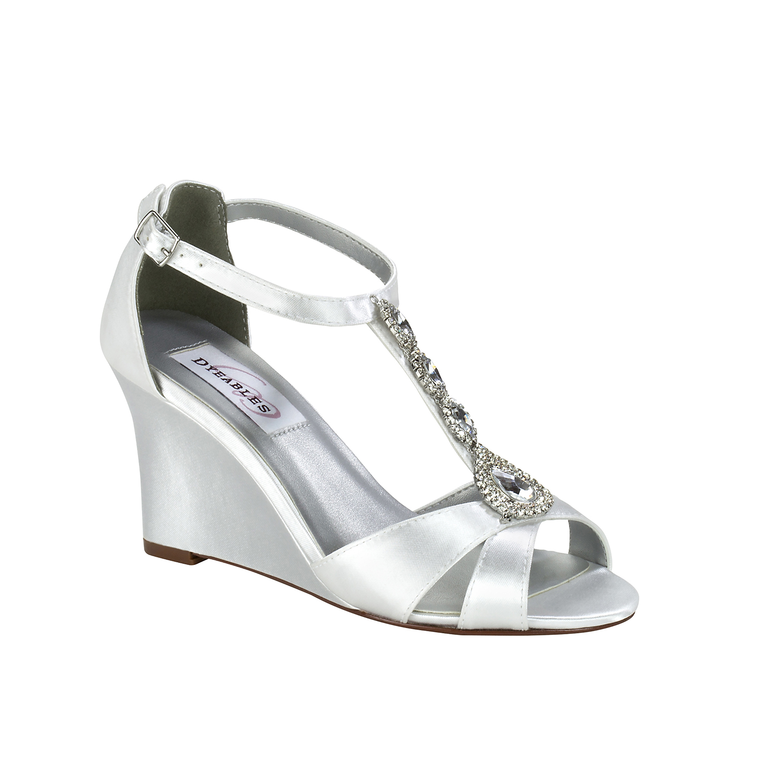 Dyeables Codi White Satin 3 Quot Wedge Dyeable Shoe Store