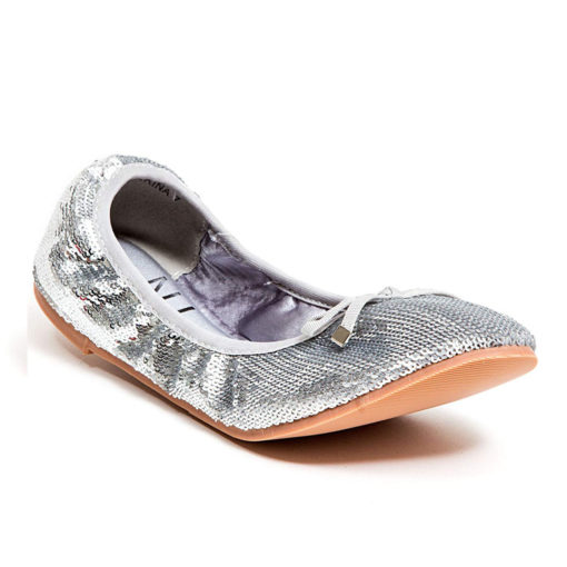 LADY COUTURE BALLERINA FLAT SILVER